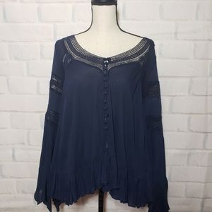 Altr'd state Navy blue long bell sleeve blouse